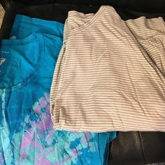 """Plus size top bundle Mermaid blue is Just My Size. 29"""" long. Stretchy. 100% cotton. Bone pin striped top is Sonoma. 60% cotton. 40% modal. 27"""" long stretchy. Both are size 2X. Price includes both Tops"""
