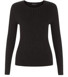 Black Long Sleeve Wide Ribbed Top
