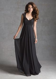 vintage a line cap sleeves long black chiffon bridesmaid dress