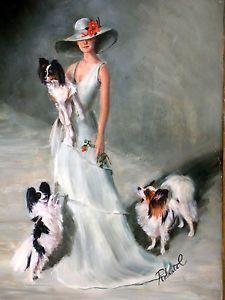 Papillon with Lady in Blue Dress Print Dog Art Print | eBay