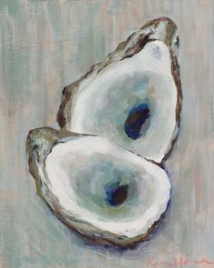 Double Oyster Fine art print of original acrylic painting by Kim Hovell. Each print is done on archival paper by a professional digital art Large Prints, Fine Art Prints, Painted Shells, Coastal Art, Coastal Style, Nautical Art, Shell Art, Beach Art, Painting Inspiration