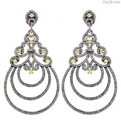 925 Silver Pave 5.9ct Diamond Dangle Earrings Antique Look 14k Gold Jewelry OX #Handmade