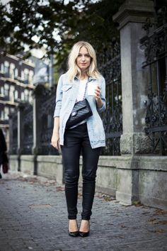 Black leather pants with jeans jacket