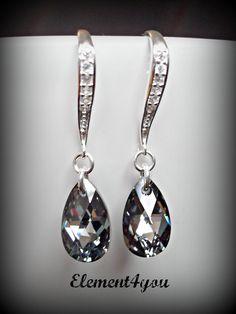 Bridesmaid Earrings, Swarovski black drop, Sterling silver