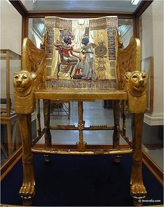 Tutankhamun's throne from his tomb in the Valley of the Kings. Now in the Cairo Museum