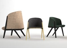 Patricia Urquiolas Mafalda collection for Moroso comprises two sizes of beech-framed armchairs with deeply curved backs moulded from recycled polyester fibres.