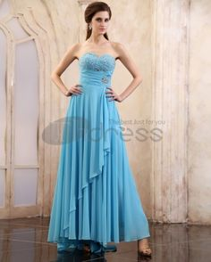 Chiffon Sleeveless Beading Ruffles Sweetheart Long Evening Dresses