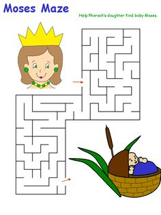 Baby Moses to Pharaoh's Daughter Maze from: http://www.dltk-bible.com/mazes/maze-moses.htm