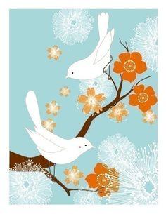 White Love Birds (blue/orange) $20.00