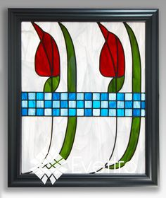 """Charles Rennie Mackintosh (1868-1928), a Scottish architect, designer, water colourist and artist, was one on the most important Art Nouveau representatives. Mackintosh, magnificently, combined slender curves, soft opalescent colors, clean vibrant geometric frameworks and stylized distortions. """"Rennie's Red Tulips"""" is a vibrant and passionate tribute to one of the greatest architects and designers of the 20th century."""