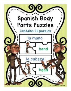 Spanish Body Parts Vocabulary Puzzles (Rompecabezas). Match the picture with the correct Spanish and English word.