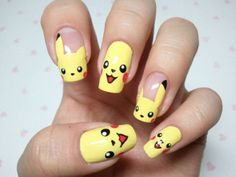 Pikachu Nails...  Again, it is important in the summer to ensure your nails are as bright as the sun. So here's another design to ensure your talons are ready for this bright season that is just around the corner. Cute and yellow, which, by the way, is one of my favourite colours for Summer 2013.  Pikachu nails, I choose you.