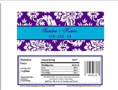 Candy Wrappers Purple turquoise damask Wed 641 WP Candy Bar Wedding, Damask Wedding, Candy Bar Wrappers, Special Day, Turquoise, Purple, Sweet Tables, Peacock, Appetizers