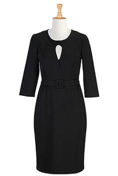 Black Ponte Knit Sheath Dresses, Body Con Dresses Shop women's fashion clothes, party dresses, plus size evening dresses, elegant dresses, women's short sleeve dresses   eShakti.com