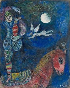 Chagall, me vuelve loca. 'The Circus Rider' - Marc Chagall… Marc Chagall, Artist Chagall, Chagall Paintings, Oil Paintings, Pablo Picasso, Art Du Cirque, Circus Art, Art Institute Of Chicago, French Artists