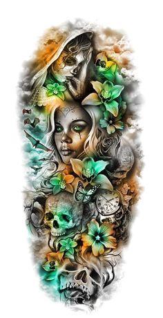 pics pics art pics awesome pics beautiful pics design pics for men pics ideas pics ink pics photography pics tatoo Sugar Skull Sleeve, Skull Sleeve Tattoos, Sugar Skull Tattoos, Best Sleeve Tattoos, Sleeve Tattoos For Women, Tattoo Sleeve Designs, Tattoos For Guys, Tattoo Sleeves, Tattoo Sleeve Girl