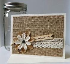 Burlap Flower Thinking of You Card by AluminumButterfly, $5.75