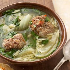 Italian Wedding Soup with Spinach, use fresh breadcrumbs from Sprouted Sourdough bread or processed All-Bran cereal