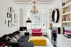 Love the colours! Particularly the chandelier and the mustard yellow velvet footstool. Don't think the ceilings in our lounge are high enough to take a chandelier though http://www.houzz.com/photos/11887721/Eclectic-Living-Room-eclectic-living-room-london