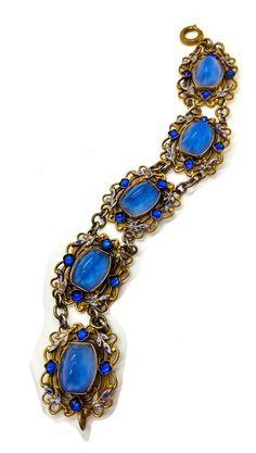 RARE Vintage Czech Blue Star Satin Glass by FemmeFataleFinery