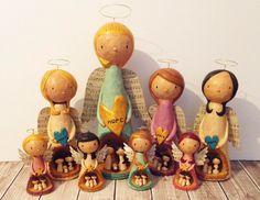 Angel Nativities - by Megan Downing - www.PigAndPumpkin.com - Original Paperclay Christmas Decorations