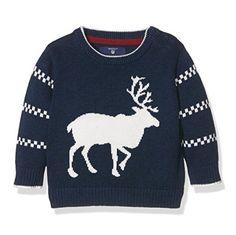 9658367c141ee Elegante jersey azul marino con ciervo o reno blanco para bebé de Gant.  Perfecto para
