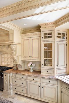 Beautiful kitchen design with Providence crown molding, Acanthus corbels and brackets