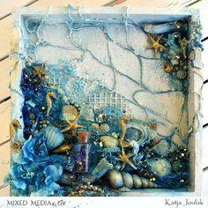 Mixed Media & Art: Shadowbox by Katja Joulak Mixed Media & Art: Shadowbox by Katja Joulak Mixed Media Boxes, Collage Art Mixed Media, Mixed Media Canvas, Shadow Box Art, Seashell Art, Diy Canvas Art, Texture Art, Medium Art, Art Techniques