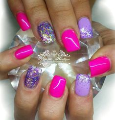 Pink and Purple acrylic nails