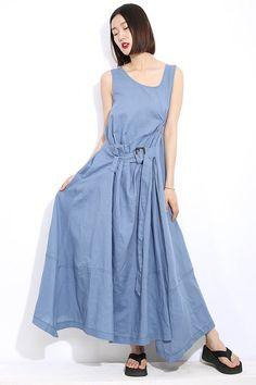 Summer dress Loose fitting Long Sundress Maxi Dress in blue (C300)