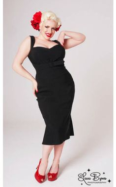 The Jessica Wiggle Dress in Bombshell Black Bengaline with Self Belt by Pinup Couture in Plus Sizes
