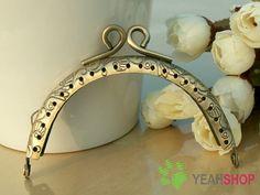 Antique Brass Embossed Purse Frame   Half Round Wire  by yeahshop, $8.90