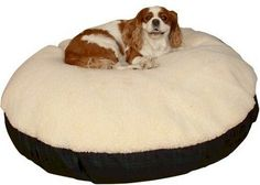 Snoozer Round Pillow Pet Bed Cream With Fur Medium Black You Can