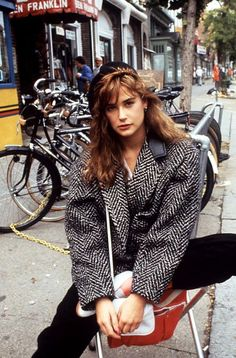 Demi Moore while filming 'St. Elmo's Fire', 1985.