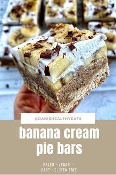 Diet Desserts, No Bake Desserts, Dessert Recipes, Banana Recipes, Vegan Recipes Easy, Pregnancy Cravings, Pie Bars, Banana Cream, Celiac