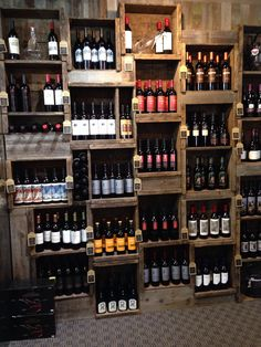 Wine rack with wood crates