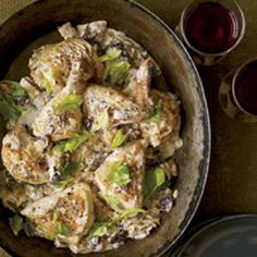 Chicken Fennel Fricassee Lite, with artichokes, mushrooms and capers Recipe on Chicken Fennel, Mushroom Chicken, Lemon Pickle, Creole Seasoning, Pickle Relish, Egg Noodles, Food 52, Couscous, Artichokes