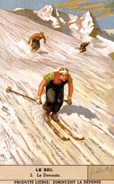 Vintage Skiing Poster - La Descente