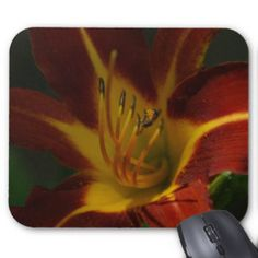 Small Bee on a Lily, Mousepad. Mouse Pad