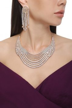 Auraa Trends presents Rhodium plated floral design american diamond layered necklace set available only at Pernia's Pop Up Shop. Layered Necklace Set, Diamond Necklace Set, Diamond Choker, Diamond Jewelry, Silver Jewelry, Pearl Jewelry, Silver Necklaces, Stylish Jewelry, Jewelry Sets