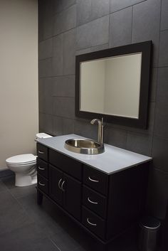 Bathroom Ideas  |  Contemporary Powder Room  |  Charcoal Gray Floor and Wall Tile  |  Basket weave tile design  |  Interior Design
