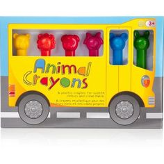 6 cute crayons topped with a beautifully detailed animal head in vibrant, modern colors