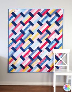 Fast Track Quilt | Fabric: Pure Delight by Melanie Collette for Riley Blake Designs #modernquilting #precutquilt #easyquiltpatterns