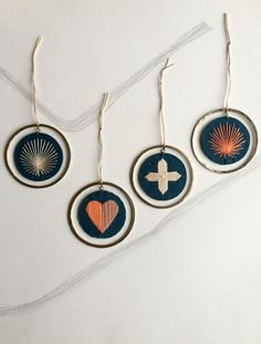 Hand Embroidered Decoration - Indigo - Various designs £10.00