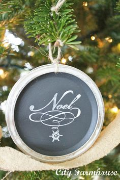 Mason Jar Chalkboard Lid Ornaments-Recycled Christmas Project #7 - City Farmhouse