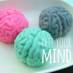 Handcrafted zombie brain soaps. Scents include: Strawberry, Oatmeal and Lime. Cool idea for Halloween!