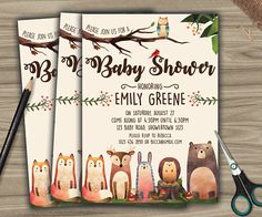 0104 - WOODLAND ANIMAL BABY SHOWER INVITE / BABY SHOWER THEME IDEA / INVITATION / FOREST ANIMALS BABY SHOWER INVITE / PARTY / RUSTIC STYLE / GAME / SIGN