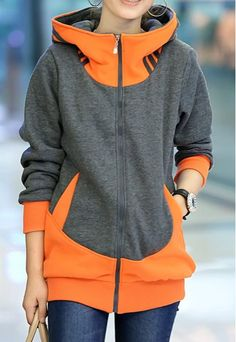 Stylish Women's Zippered Long Sleeve Color Block Hoodie