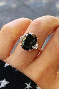 halo engagement rings .... 6879 #haloengagementrings Black Diamond Engagement, Oval Engagement, Antique Engagement Rings, Black Stone Engagement Rings, Colored Engagement Rings, Black Rings, Black Diamond Rings, Black Wedding Rings, Three Diamond Ring