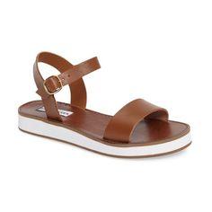 Women's Steve Madden Deluxe Sandal ($70) ❤ liked on Polyvore featuring shoes, sandals, blush velvet, ankle strap sandals, velvet shoes, steve madden sandals, ankle wrap sandals and velvet sandals